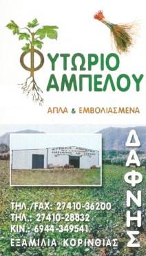 ΦΥΤΩΡΙΟ ΕΞΑΜΙΛΙΑ ΚΟΡΙΝΘΟΣ ΔΑΦΝΗΣ ΑΛΕΞΑΝΔΡΟΣ